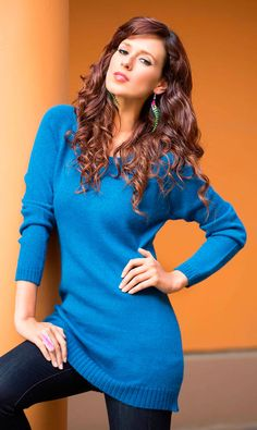 Alpaca Blend Tunic Sweater, 'Titicaca Dream' This long tunic-style sweater features a smooth jersey knit and flirty scoop neck.  #gifts #handmade #tunic #alpaca #blend #sweater #blue #clothes