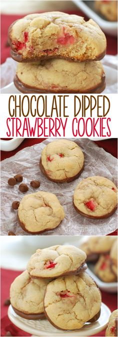 Chocolate Dipped Strawberry Cookies   Soft and delicious cookies packed with fresh strawberries and dipped in chocolate!: