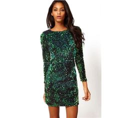 Green Long Sleeve Sequined Bodycon Dress | berlinmo