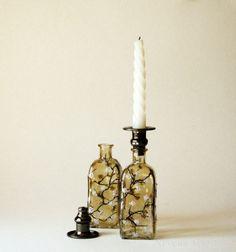 Vintage Bottles Candle Holders HAND PAINTED by NevenaArtGlass, $46.00