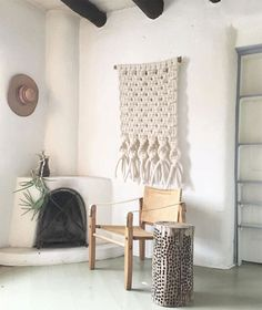 Soft White Macrame Wall Hanging With Driftwood Bar by MacroMacrame