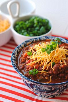 Delicious Chili! Super easy also and it makes 8 servings so plenty to eat and stock up the freezer.  I used 96% lean ground beef instead of turkey, 1tbs texas peet's, 2 packets splenda, 4 cloves garlic.  Everything else was the same! Stove for 1 hour or crockpot on low for 6 hours