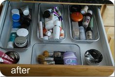 Dollar Store Containers Velcroed to Drawer  This is a simple -- but incredibly effective solution to organizing drawers and keeping those organizers from sliding around. Learn more at tatertots & jello 16 Organizations Ideas and DIY Projects for the Bathroom‏