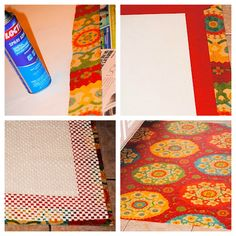 Make your own kitchen rug with fabric wrapped around vinyl and coated with polyurethene.