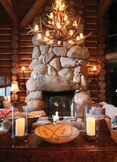 Awesome antler chandelier & huge stone fireplace-SR