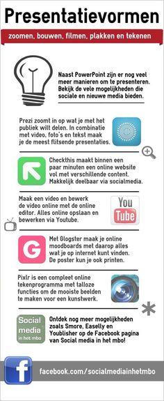 5 andere presentatievormen dan PowerPoint  met behulp van verschillende sociale en nieuwe media! Bekijk meer voorbeelden op http://www.facebook.com/socialmediainhetmbo