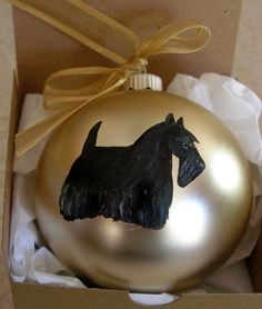 Scottish Terrier Scottie Dog Hand Painted Christmas Ornament by paintedpooches, $17.95