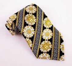 GIANNI VERSACE Silk Tie Black Gold Cream Geometric Large Medusa Head #GianniVersace #NeckTie