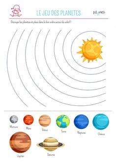 Un jeu à imprimer qui ravira les petits Momes pour découvrir le système solaire ! Imprimer le jeu ci-dessous, puis découpez les huit planètes et placez-les dans le bon ordre les orbites autour du soleil.