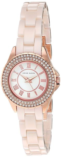 Anne Klein Women's Quartz Metal and Ceramic Dress Watch, Color:Pink (Model: AK/2204RGLP) -- See this great watch.