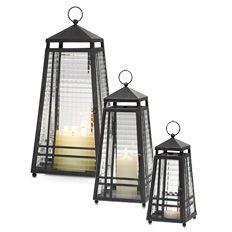 Weathered Zinc Lanterns - Perfectly sized for tables and little nooks in the garden. Add your own votive or tealight to the included glass votive cup for an inviting glow. Can also be used with large tealights.  Display with our Large and Medium Zinc Lanterns for an eye-catching vignette. Weather-resistant metal frame with prism glass panels.  www.partylite.biz/kristinschaeppi