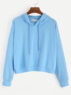 Blue Drop Shoulder Hooded Sweatshirt Mobile Site