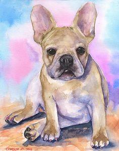 French Bulldog  Print of the Original от GeorgeWatercolorArt