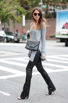 Extra-long sweaters are a huge trend this season and a side slit is a great way to give your sweater movement. #fall #style
