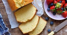 A buttery, moist, tender, golden pound cake.