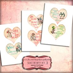 Alice in wonderland Valentine SET 3 Digital collage sheet, ACEO, shabby chic hearts, perfect for tags, notecards and digital scrapbooking.