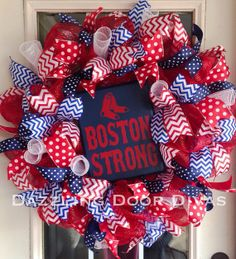 LOVE LOVE LOVE! Boston Red Sox Baseball Wreath! Red, White, Blue Chevron and Polka Dot Ribbon. Boston Strong!
