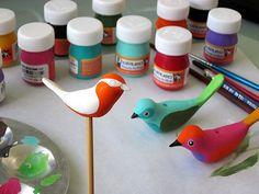 Fimo birds by Geninne Clay Birds, Ceramic Birds, Ceramic Clay, Polymer Clay Animals, Polymer Clay Dolls, Polymer Clay Projects, Sculpture Projects, Bird Sculpture, Bird Crafts