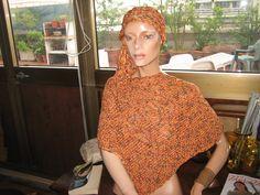 poncio in cotone arancio
