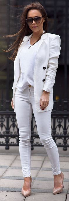 All In White Casual Chic Outfit