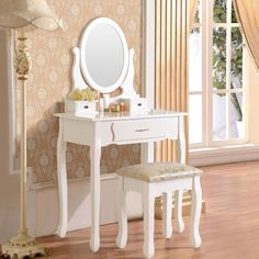 Vanity Makeup Dressing Table Set w Stool 3 Drawer Mirror Jewelry Desk White Wood…