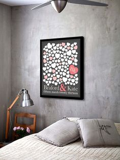 WEDDING GUEST BOOK Alternative - 120 guest sign, Flying Hearts, Unique Guest Book Poster, Art Print. on Etsy, 28,72 €