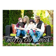 Merry Christmas Photo Card | White Script Overlay  | Visit the Zazzle Site for More: http://www.zazzle.com/?rf=238228028496470081