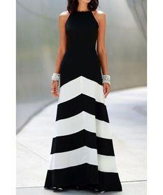 741f0b066 Elegant Black and White Stripe Maxi Dress Dress Beach