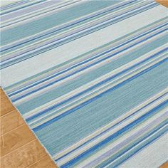 """Sea Blues Stripe Dhurrie Rug-- I love these colors. $80 for 2x3; 2'6""""x8 runner for $189."""