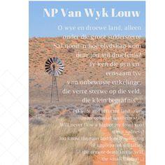 Did took duine in die Kalahari. Afrikaanse Quotes, Creative Writing, Verses, Poems, Language, Van, Inspire, Education, Nature