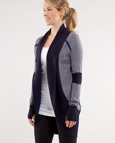 Just bought this Lululemon, Transformation Wrap & ABSOLUTLEY love it. Style similar to the Wilfred Diderot sweater -- Bought in charcoal and black, can wear five different ways & sooo comfortable.
