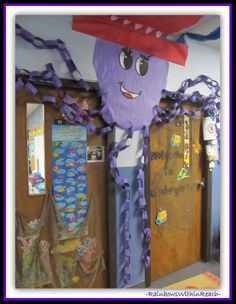 Ocean Octopus Decorated Classroom Door {Ocean RoundUP over 100+ Ideas at RainbowsWithinReach