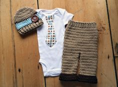 Newborn Boy Coming Home Outfit - Polka Dot Tie Shirt w/ Matching Crochet Hat & Roll Cuff Pant in Tan, Brown, and Blue - Optional Booties by AntiquatedModCrochet on Etsy https://www.etsy.com/listing/181663915/newborn-boy-coming-home-outfit-polka-dot