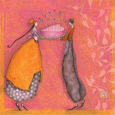 """Gaëlle Boissonnard carte postale carrée (14 cm) """"Le gâteau de coeurs"""" - Arret-sur-image.eu"""