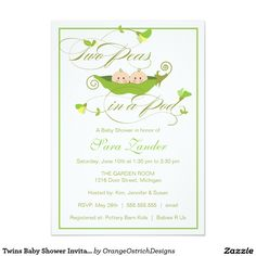 """Twins Baby Shower Invitation - Two Peas in a Pod 5"""" X 7"""" Invitation Card"""