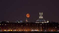 The moon glows red as it rises over the Albert Dock in Liverpool. Photo by Steve McMillan. Liverpool Bars, Liverpool England, King John, Pump House, Mount Pleasant, Southport, Rhythm And Blues, Home And Away, Homeland