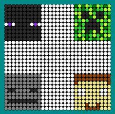 Minecraft Faces Enderman Creeper Skeleton And Herobrine bead pattern