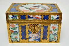 New acquisition for the Bowes Museum 18th-century chest formerly owned Prince Charles Alexander (1712–1780) — Duke of Lorraine, Governor of the Austrian Netherlands, and brother-in-law of the Empress of Austria. It's made from three different styles of Chinese porcelain vases, cut into sections and set into European gilt bronze mounts on a wooden framework