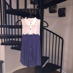 Urban Outfitters top two tone light pink and blue Urban Outfitters top two tone sheer chiffon light pink and navy blue perfect condition body 100% Rayon  trim 100% polyester  Urban Outfitters Tops Button Down Shirts