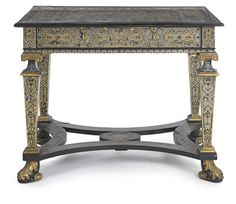 A Viennese Baroque pewter and brass-inlaid parcel-gilt ebony console table  circa 1700.