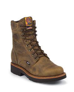"Justin Original Workboots Men's Rugged Tan Gaucho 8"" Round Toe Steel Toe Boot"