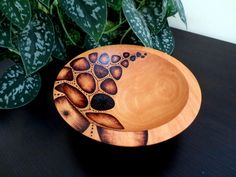 Wooden Bowl -  Pyrography Design, Modern, Woodburned, Beech Wood, Made to Order