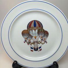 Rare Antique Hot Air Balloon Dessert Plate 1930 JKW Bavaria Western Germany avia