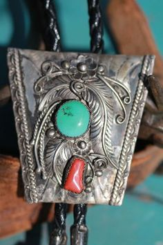 Vintage Sterling Silver Turquoise Red Coral Bolo Tie by Navajo Curlene Toledo | eBay