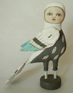 "Cielo Bird-- Contemporary Folk Art Doll-- Made to order within a week. $140.00, via Etsy. 9 1/2 """