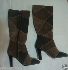 Bob Mackie Studio Boots Brown Patchwork Style   Size 5 1/2