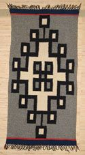 Gernamtown Table Runner Navajo Weaving. Navajo weaving a blocked diamond  in a Gray field. Tightly woven, perfect for a southwestern style home.