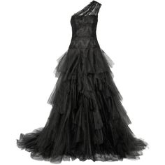 Marchesa Embellished lace and tulle gown ($2,550) ❤ liked on Polyvore featuring dresses, gowns, long dresses, black, lace dress, lace evening dresses, lace bustier, lace evening gowns and long lace evening dresses