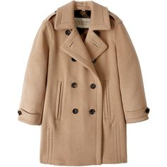 Burberry Brit Wool Camel Double Breasted Cocoon Coat found on Polyvore