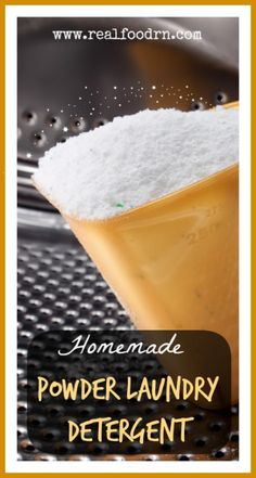 "Homemade Powder Laundry Detergent. I broke it down on the cost part: each ""batch"" makes approximately 96 loads. Each load will cost $0.04! If you bought a box of regular detergent at the store that contained 96 loads, you would pay $0.42 per load. DIY and non-toxic! realfoodrn.com"